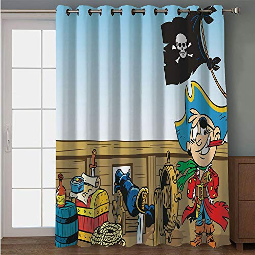 iPrint Blackout Patio Door Curtain,Pirate,Funny Pirate Boy Kid on Ship Deck Journey Dangerous Adventure in Unknown Waters Decorative,Multicolor,for Sliding & Patio Doors, 102