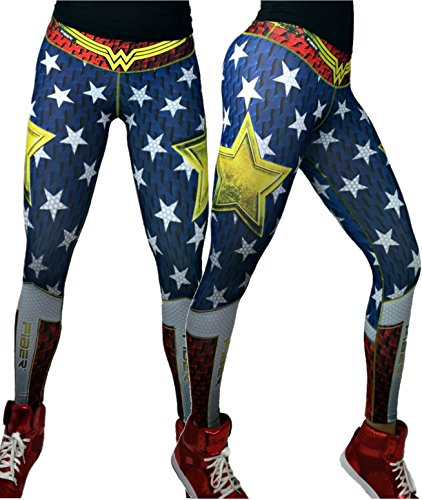 Fiber Wonder Woman Leggings Superhero Yoga Pants Women's Compression Tights (Twin Girl Costumes)