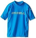 O'Neill UV 50+ Sun Protection Youth Basic Skins Short Sleeve Crew Sun Shirt Rash Guard, Bright Blue, 14