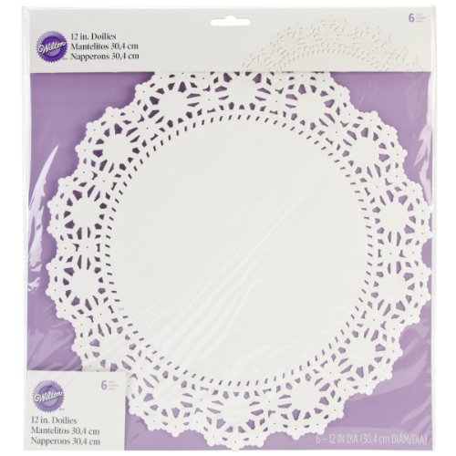 Wilton 2104-90212 6 Count Grease Proof Doilies, 12-Inch, -