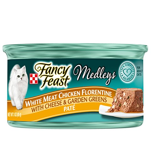 Purina Fancy Feast Medleys Pate Collection Gourmet Wet Cat Food, (24) 3 oz. Cans, White Meat Chicken Florentine with Cheese & Garden Greens