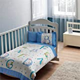Baby Sweet Animals Blue Nursery Duvet Cover Set - 100% Cotton - 4 pieces Baby Sea Blue Boy's Themed Made in Turkey
