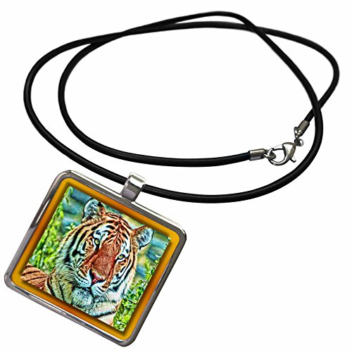 3dRose Susan Brown Designs Animal Themes - Regal Tiger - Necklace With Rectangle Pendant - Tiger Regal