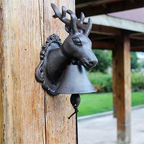 アンティークドアベル 鹿ドアベルは鹿頭アントラーズ素朴な伝統ドアのベルでアイアンハンギング呼び鈴をキャスト 鋳鉄の装飾的なドアベル (Color : Brass, Size : 27X14X13CM)