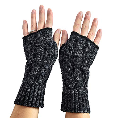 Dye Glove (Green 3 Women's Recycled Cotton Black Space Dye Hand Warmer Fingerless Gloves (Black) Made in USA (One Size))