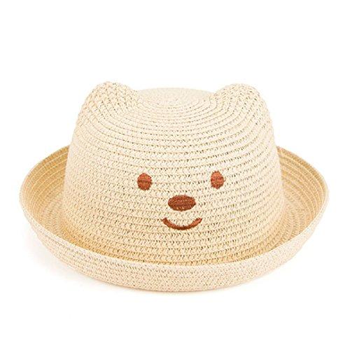 r Floppy Drawstring Chin Strap Sun Hat For Girls Boys Children (Beige) ()
