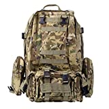 Basecamp Military Assault Tactical Backpack – ACU Outdoor Tactical Rucksack Molle Backpack for Camping Hiking Mountain Trekking Bag Combined with 3 MOLLE Bags Pack Combat Daypacks For Sale