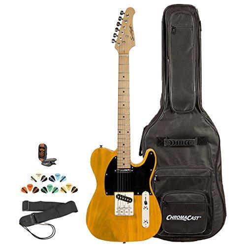 Sawtooth ST-ET-BSB-KIT-2 Electric Guitar, Butterscotch with Black Pickguard
