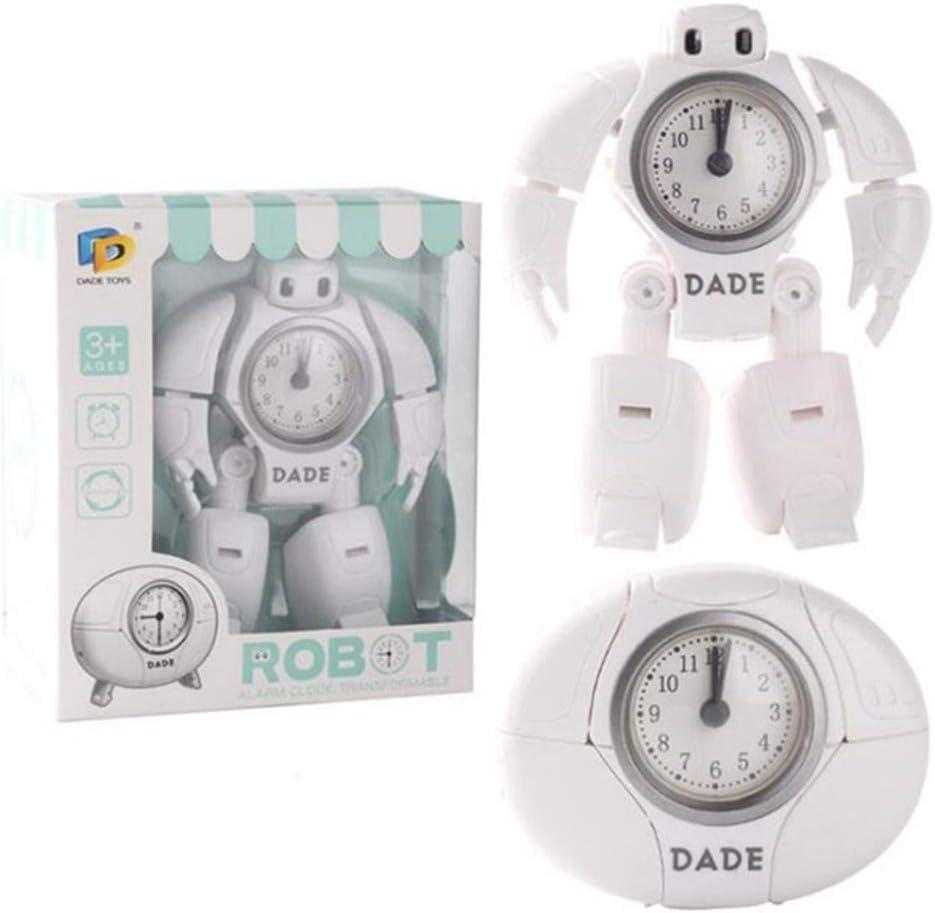Xinrongqu Reloj Despertador Robot Creativo, 2 Relojes De Despertador De Viaje con Forma De Modelo Relojes De Aguja De Escritorio para Estudiantes Niños Cumpleaños Regalos,Blanco: Amazon.es: Hogar