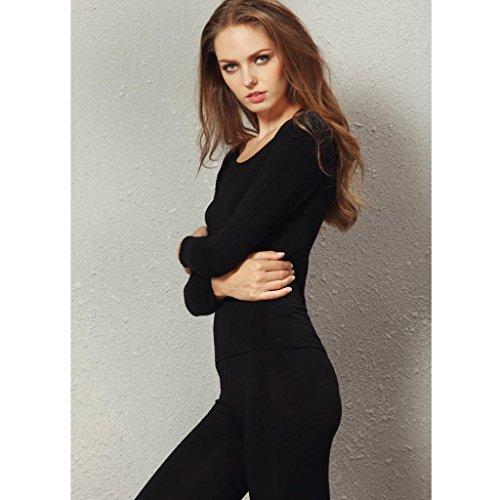 Liang Rou Women's Crewneck Stretch Top & Bottom Thin Underwear Set Black M Medium / 8-10 1 Set Black by Liang Rou (Image #3)