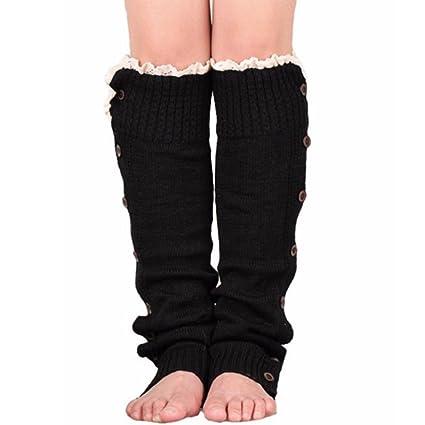 Calcetines para botas de punto de encaje para mujer, botones, botones, calcetines de