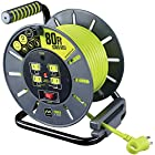 Masterplug 80ft Heavy Duty Extension Cord Open Reel with 4 / 10 amp Integrated Outlets 120V