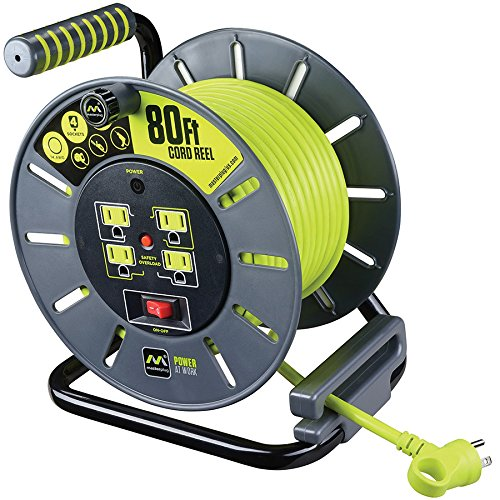 Masterplug 80ft Open Extension Cord Reel with 4 120V / 13 amp Integrated Outlets and Thermal Overload Breaker