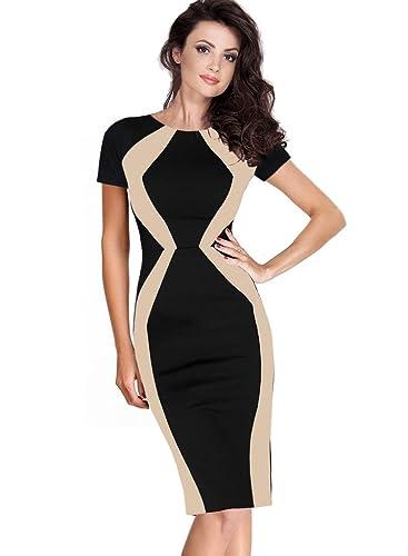Vfemage Womens Elegant Optical Illusion Contrast Slim Wear To Work Dress