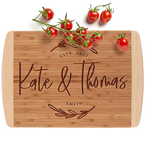 Personalized Cutting Board, 12 Designs & 2 Sizes, Bamboo Cutting Board, Wedding Gifts for the Couple, Housewarming Gift & Kitchen Sign - 2 Tone Block Board #G