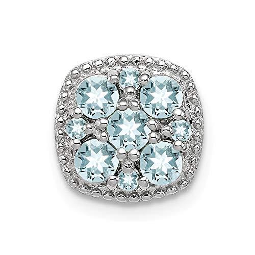 Roy Rose Jewelry Sterling Silver Aquamarine Square Pendant Slide