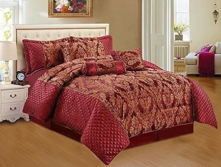 Unique Burgundy Bedspread Set 7 pcs Quilted Conforter Set Burgundy  CA88