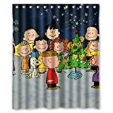 Custom Charlie Brown Christmas Snoopy Shower Curtain 60'x72' Waterproof Fabric Shower Curtain for Bathroom
