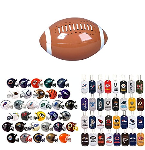 Mini Nfl Football Helmets and Dog Tags Complete Sets of 32 Each, Total 64 Licensed Items PLUS BONUS MINI FOOTBALL INFLATE BUNDLE BY DISCOUNT PARTY AND NOVELTY TM ()