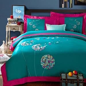 Amazon Com Dandelions Promise Cyan Bedding Duvet Cover