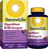 Renew Life  Kids Digestive Plant-Based Enzyme Supplement - DigestMoreTM Kids Enzyme, Berry Blast - 60 Chewable Tablets