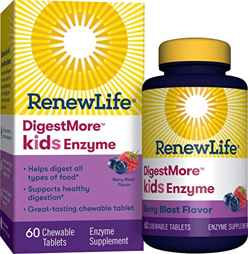 Renew Life®  Kids Digestive Plant-Based Enzyme Supplement - DigestMoreTM Kids Enzyme, Berry Blast - 60 Chewable Tablets (Best Digestive Enzymes For Constipation)