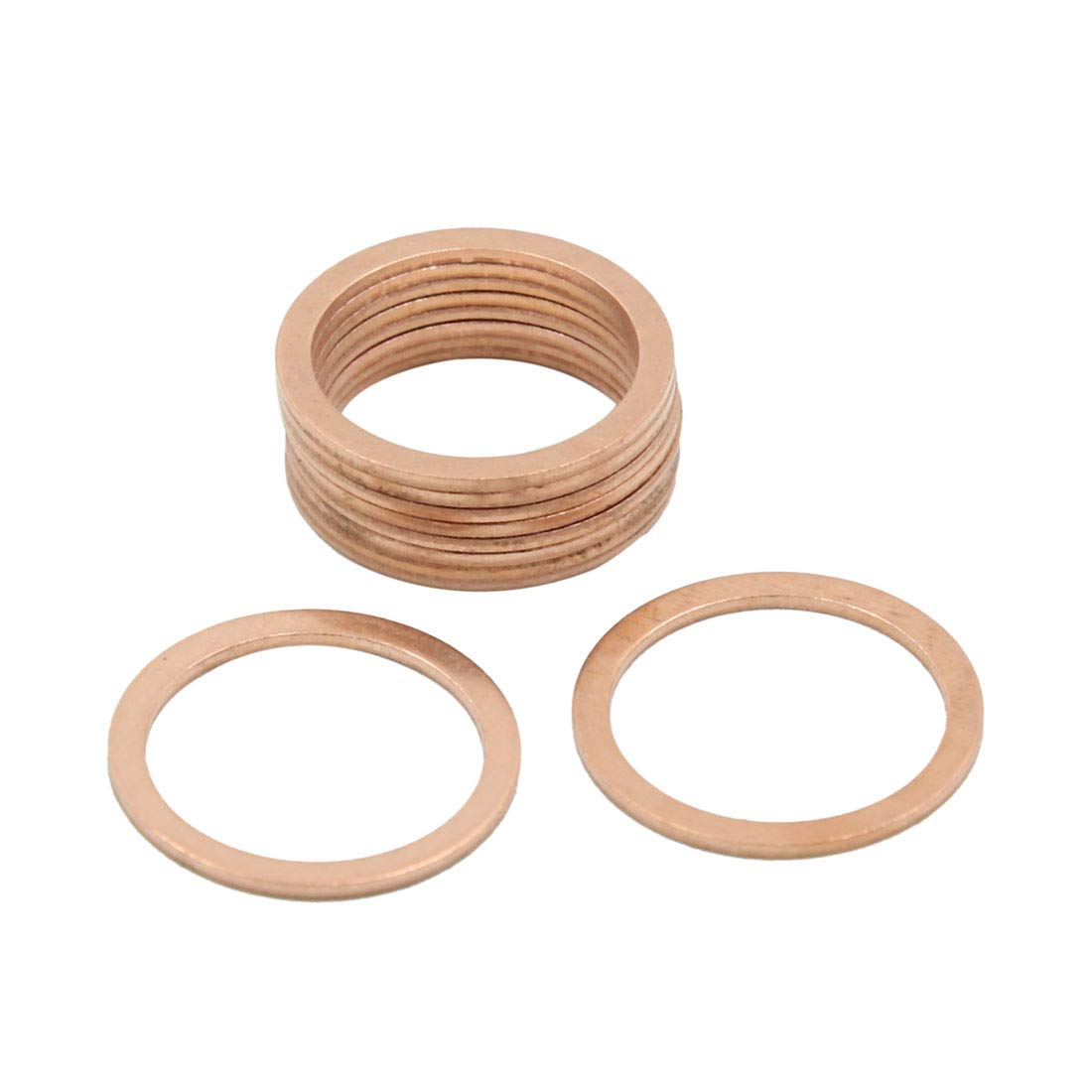 X AUTOHAUX 18mm Inner Diameter Copper Washers Flat Car Sealing Plate Gaskets Rings 10pcs