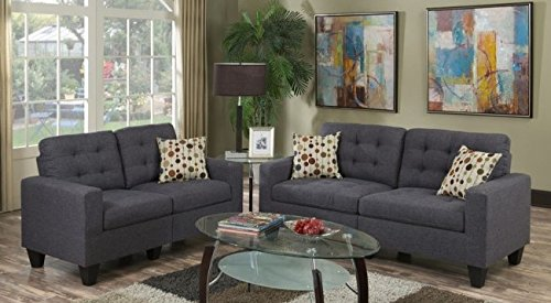 Poundex F6901 Bobkona Windsor Linen-Like Poly Fabric 2 Piece Sofa and Loveseat Set, Blue Grey