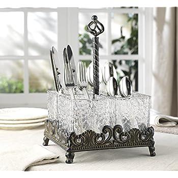 Elegant Home Set of Four Glass on Metal Rack Flatware Caddy Organizer Set.  sc 1 st  Amazon.com & Amazon.com: VANRA Metal Flatware Caddy Silverware Caddy Utensil ...