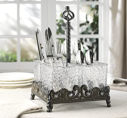 Elegant Home Set of Four Glass on Metal Rack Flatware Caddy Organizer Set.  sc 1 st  Amazon.com & Amazon.com: Elegant Home Set of Four Glass on Metal Rack Flatware ...