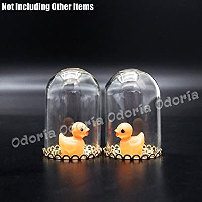 Odoria 1:12 Miniature 2PCS Glass Display Bell Jar with Base Dollhouse Decoration Accessories: Toys & Games