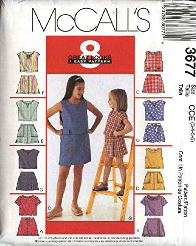 McCall's 3677 Sewing Pattern Girls Tops & Skorts Size 3 - 6