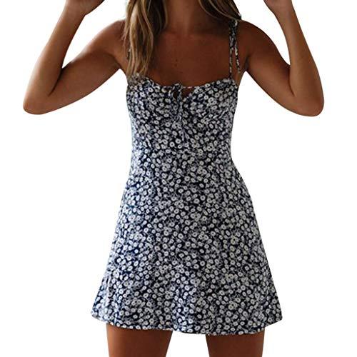 (Women's A-Line Mini Dress Floral Print Lace Up Backless Spaghetti Straps Sundress (S, Black))