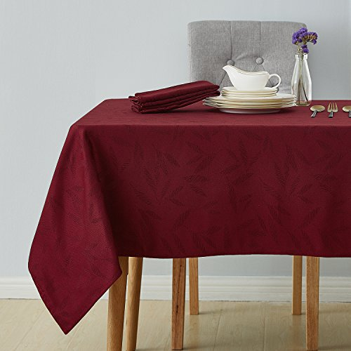 - Deconovo Decorative Jacquard Tablecloth Wrinkle and Water Resistant Spill-Proof Rectangle Tablecloths with Bamboo Leaves Patterns for Kitchen 54 x 72 inch Burgundy