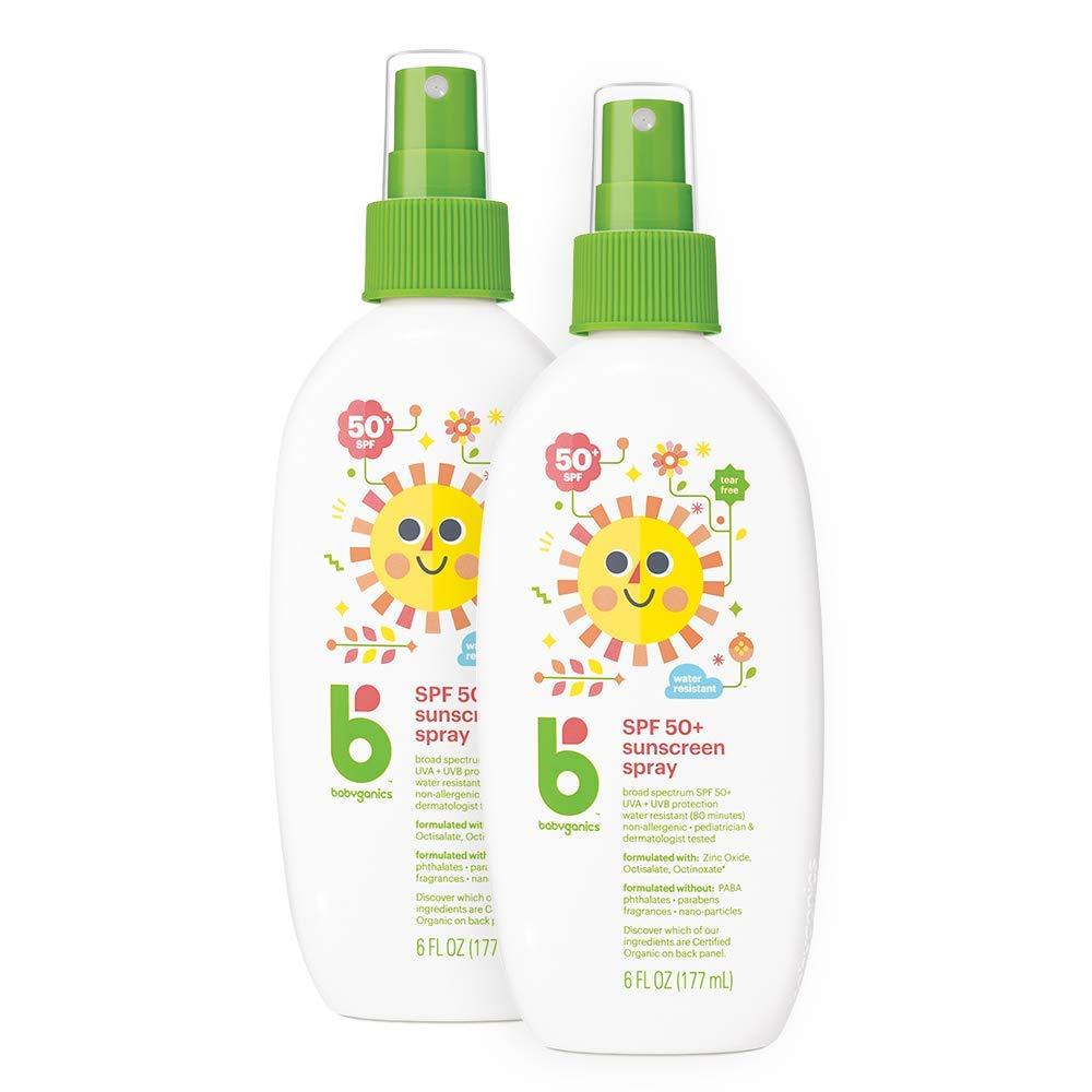 Babyganics Sunscreen Spray 50 SPF, 6oz, 2 Pack, Packaging May Vary by Babyganics
