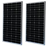 WindyNation (2 pcs) Lot of Two 100 Watt 100W Monocrystalline Photovoltaic PV Solar Panel Module 12V 12 Volt Battery Charging for Boat, RV, Off-Grid For Sale