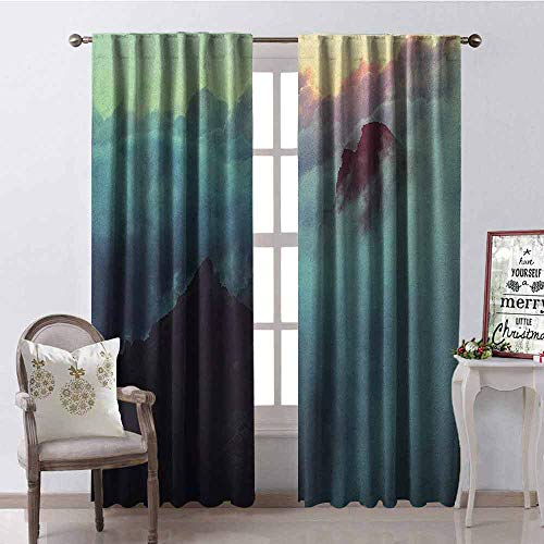 GloriaJohnson Clouds 99% Blackout Curtains Hills in The Large Cumulus Clouds Magical View Mountains Tranquility Nature Theme for Bedroom- Kindergarten- Living Room W52 x L72 Inch Blue - Spanish Bedroom Collection Hills