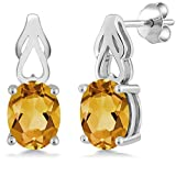 3.00 Ct Oval Yellow Citrine 925 Sterling Silver Gemstone Birthstone Earrings