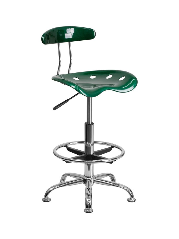 Offex Contemporary Sleek Vibrant Green and Chrome Drafting Stool with Tractor Seat