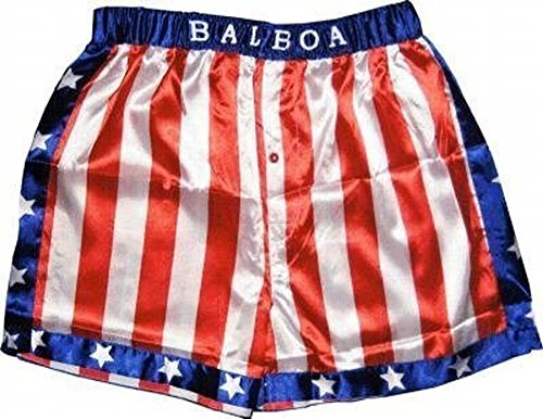 Rocky Balboa Apollo Movie Boxing American Flag Shorts (Large)