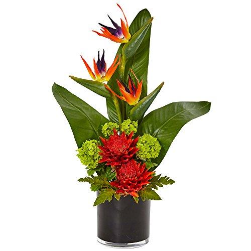 Nearly Natural Bird of Paradise Tropical Artificial Arrangement Orange