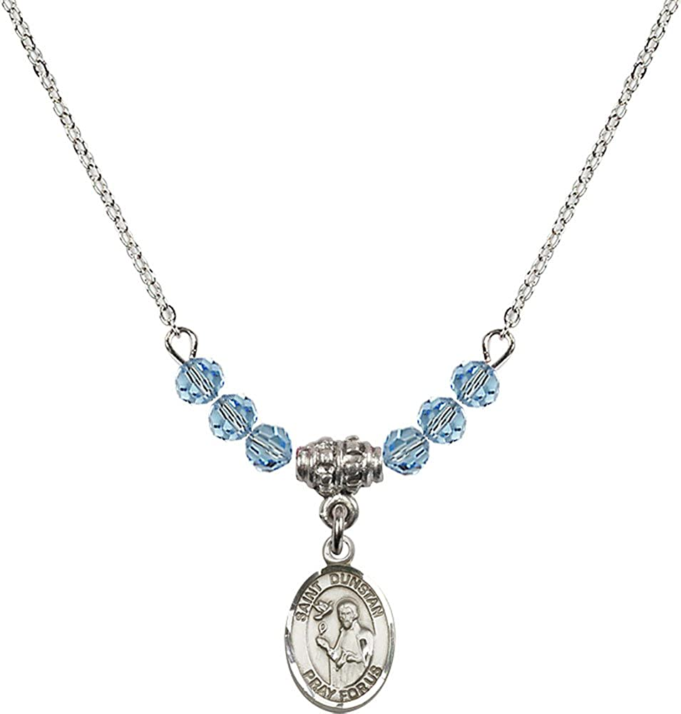 18-Inch Rhodium Plated Necklace with 4mm Aqua Birthstone Beads and Sterling Silver Saint Dunstan Charm.