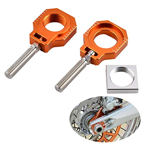 Nathan-Ng - CNC Billet Axle Blocks Chain Adjuster For KTM 125 200 250 300 350 400 450 500 520 525 530 EXC EXC-F XC-W XCF-W 2000-
