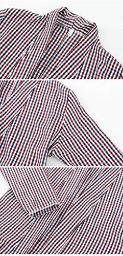 Chaquetas Larga Solapa A Clásica Ocasional Mujer Rojo Chaqueta Manga Fashion Outerwear Fiesta Elegantes Otoño Cómodo Cuadros Vintage Primavera De Anchas Abrigos q7Bqzr