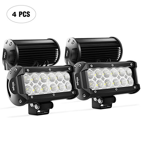 Nilight LED Light Bar 4PCS 6.5Inch 36w Flood LED Work Light Off Road lights led bar Super Bright for Jeep Cabin Boat SUV Truck Car ATVs,2 Years Warranty ()