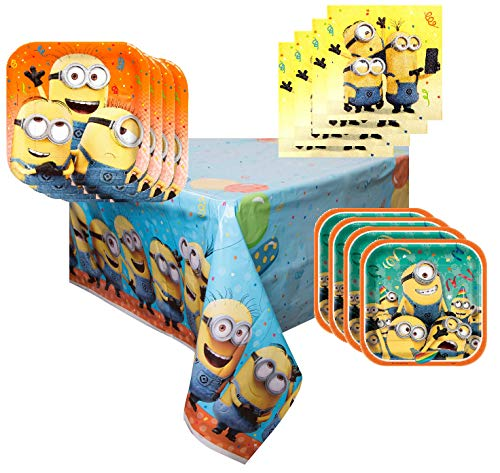 Minion Party Supplies Tableware Bundle Pack for 16 Guests - Includes 16 Dinner Plates, 16 Dessert Plates, 16 Dinner Napkins, and 1 Tablecover -