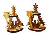Bethlehem Olive Wood Christmas Nativity Ornaments set of 2 From Israel the Holy Land