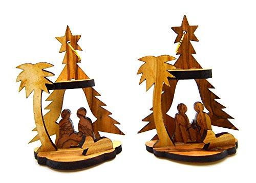 Bethlehem Olive Wood Christmas Nativity Ornaments set of 2 From Israel the Holy (Wood Christmas Nativity Set)