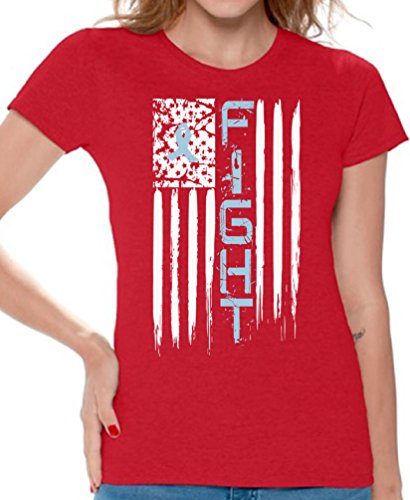 Fight Blue Shirt - Awkward Styles Women's Prostate Cancer T Shirts Tee Tops for Women Distressed American Flag Fight Blue Ribbon Red 2XL