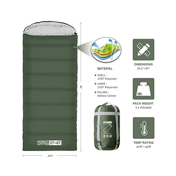 HONEST OUTFITTERS Sleeping Bag With Compression Sack Envelope Portable And Lightweight For 3 4 Season Camping Hiking Traveling Backpacking And Outdoor Activities SINGLE